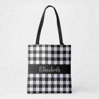 Personalised Houndstooth Black Plaid Tote Bag