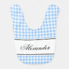 Personalised houndstooth pattern baby bib for boy