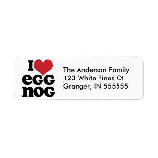 Personalised I Heart Eggnog Address Labels