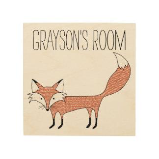 Personalised Illustrated Fox Wood Canvas