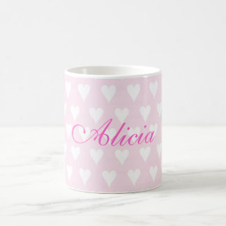 Personalised initial A girls name hearts mug