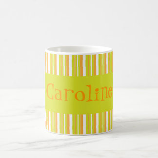 Personalised initial C girls name stripes mug