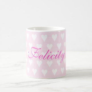 Personalised initial F girls name hearts mug