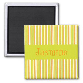 Personalised initial J girls name stripesmagnet Magnet