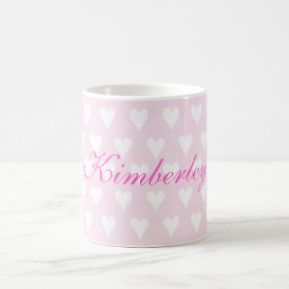 Personalised initial K girls name hearts mug