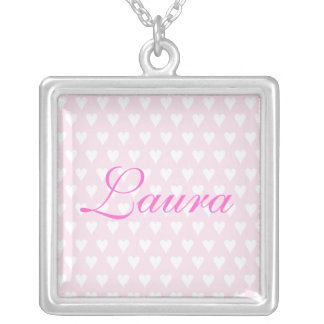 Personalised initial L girls name hearts necklace