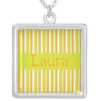 Personalised initial L girls name stripes necklace