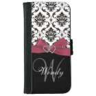 Personalised Initial, Pink, Black Damask Pattern iPhone 6 Wallet Case