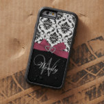 Personalised Initial, Pink, Black Damask Pattern Tough Xtreme iPhone 6 Case