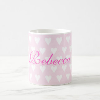 Personalised initial R girls name hearts mug