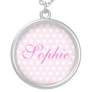 Personalised initial S girls name hearts necklace