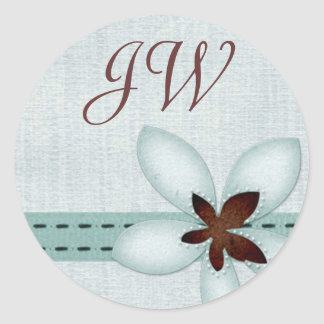 Personalised Initial Sticker - ribbon and flower