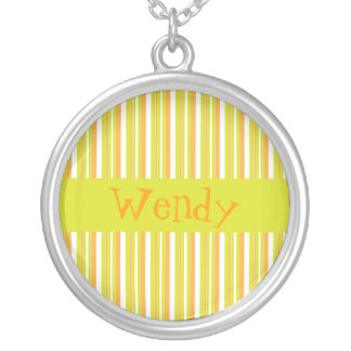 Personalised initial W girls name stripes necklace
