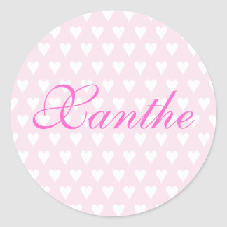 Personalised initial X girls name hearts stickers