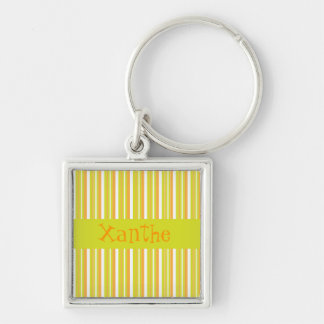 Personalised initial X girls name stripes keychain