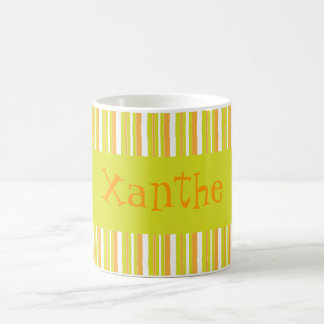 Personalised initial X girls name stripes mug