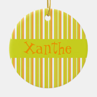 Personalised initial X girls name stripes ornament