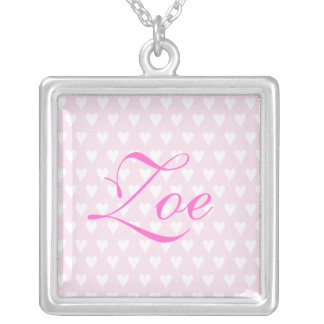Personalised initial Z girls name hearts necklace