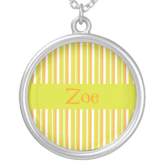 Personalised initial Z girls name stripes necklace