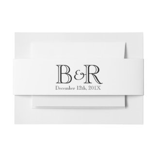 Personalised Initials and Date Belly Band Invitation Belly Band