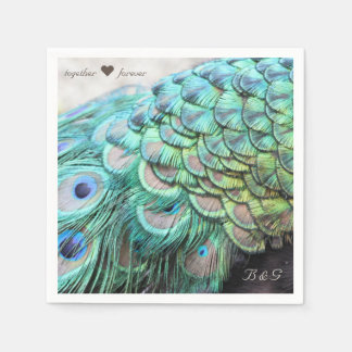 Personalised Initials Peacock Wedding Napkins Disposable Napkins