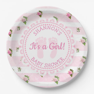 Personalised It's a Girl Pink Baby Shower Plates