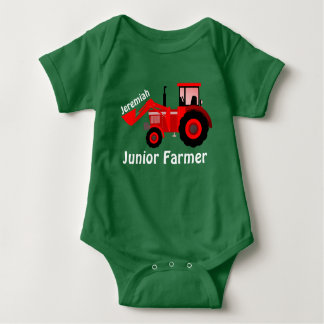 """Personalised """"Junior Farmer"""" and Red Tractor Baby Bodysuit"""