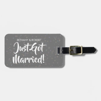 Personalised Just Got Married Silver Confetti Luggage Tag