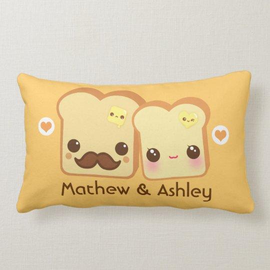 Personalised - Kawaii cute toasts couple Lumbar Cushion