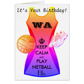 Personalised Keep Calm and Play Netball Quote Card