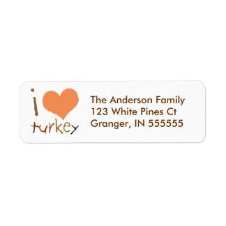 Personalised Kids I Love Turkey Address Labels