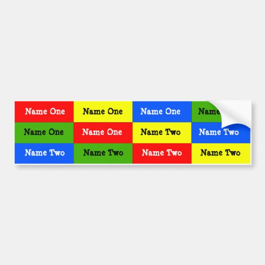personalised kids name labels waterproof stickers bumper sticker zazzle. Black Bedroom Furniture Sets. Home Design Ideas