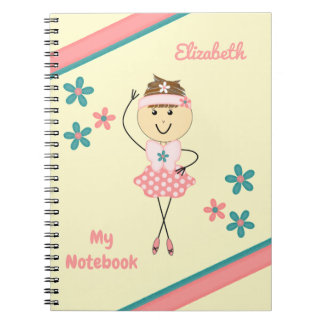 Personalised Kids Pink and green ballerina Spiral Notebook