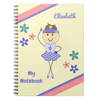 Personalised Kids purple ballerina Notebooks