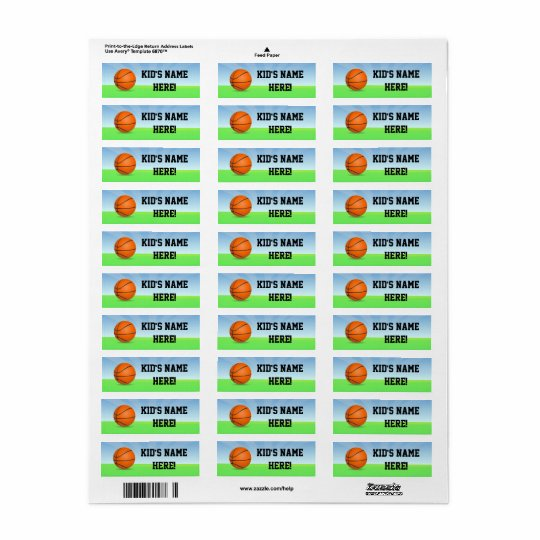 Personalised Kid's Sports Basketball Name School Return Address Label