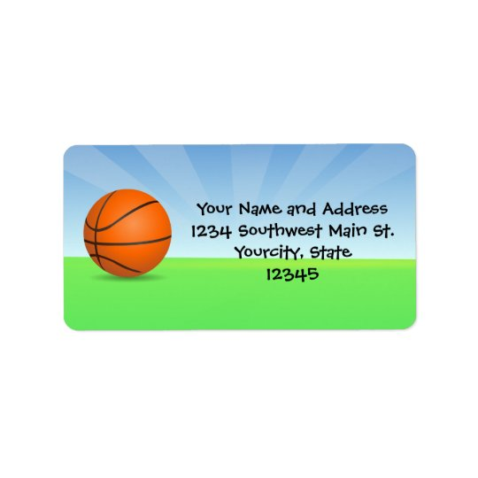 Personalised Kid's Sports Basketball Sunny Day Address Label
