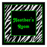Personalised Kids Wall Decor - Zebra & Lime Green Posters