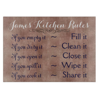 Personalised Kitchen Rules Cutting Board