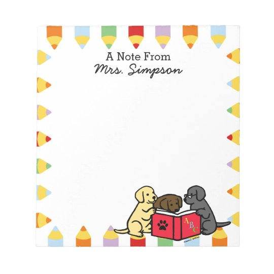 Personalised Labrador Puppies Reading Notepads