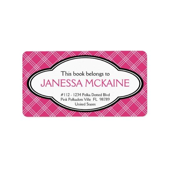 Personalised Ladies Bookplate Sticker Pink White