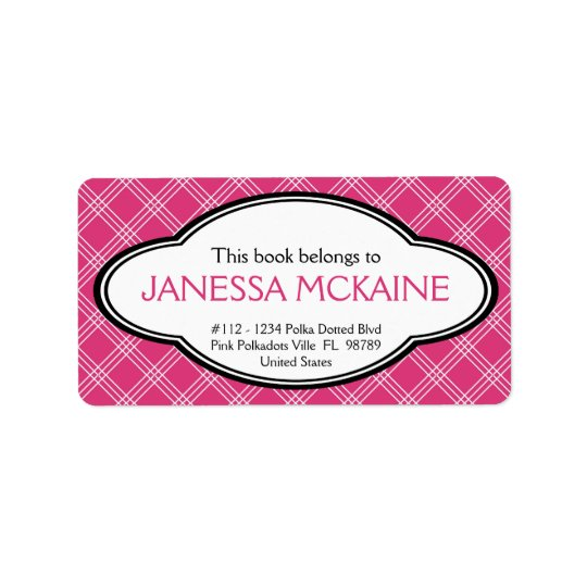 Personalised Ladies Bookplate Sticker Pink White Address Label
