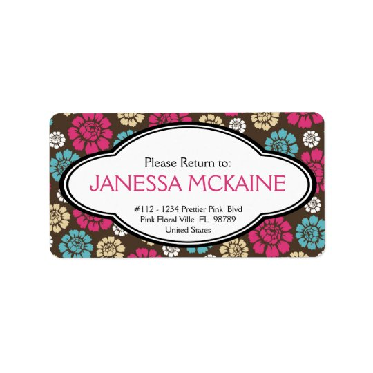 Personalised Ladies Pink Brown Blue Floral Sticker Address Label