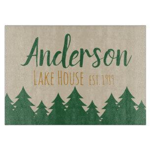 Personalised Lake House Glass Cutting Board