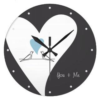 Personalised Light Blue Heart Love Birds Rustic Large Clock