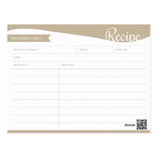 Personalised Light Brown & White Recipe Card Postcard