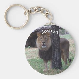 Personalised Lion Keyring Basic Round Button Key Ring