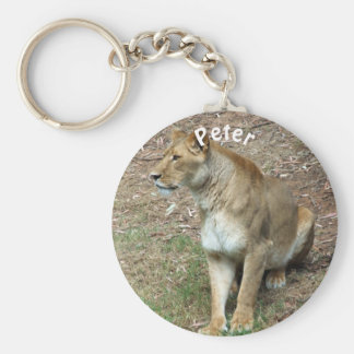 Personalised Lioness Basic Round Button Key Ring