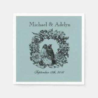 Personalised Love Birds Wreath Wedding Napkins Paper Napkins
