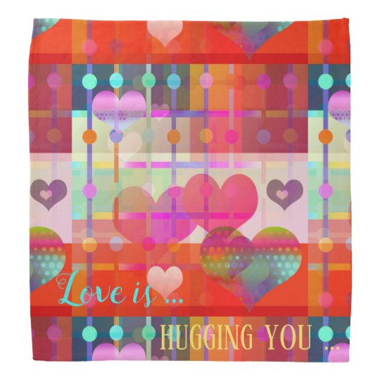 Personalised Love Is Colourful Pattern Bandanna