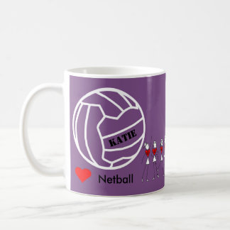 Personalised Love Netball Team and Name Design Coffee Mug